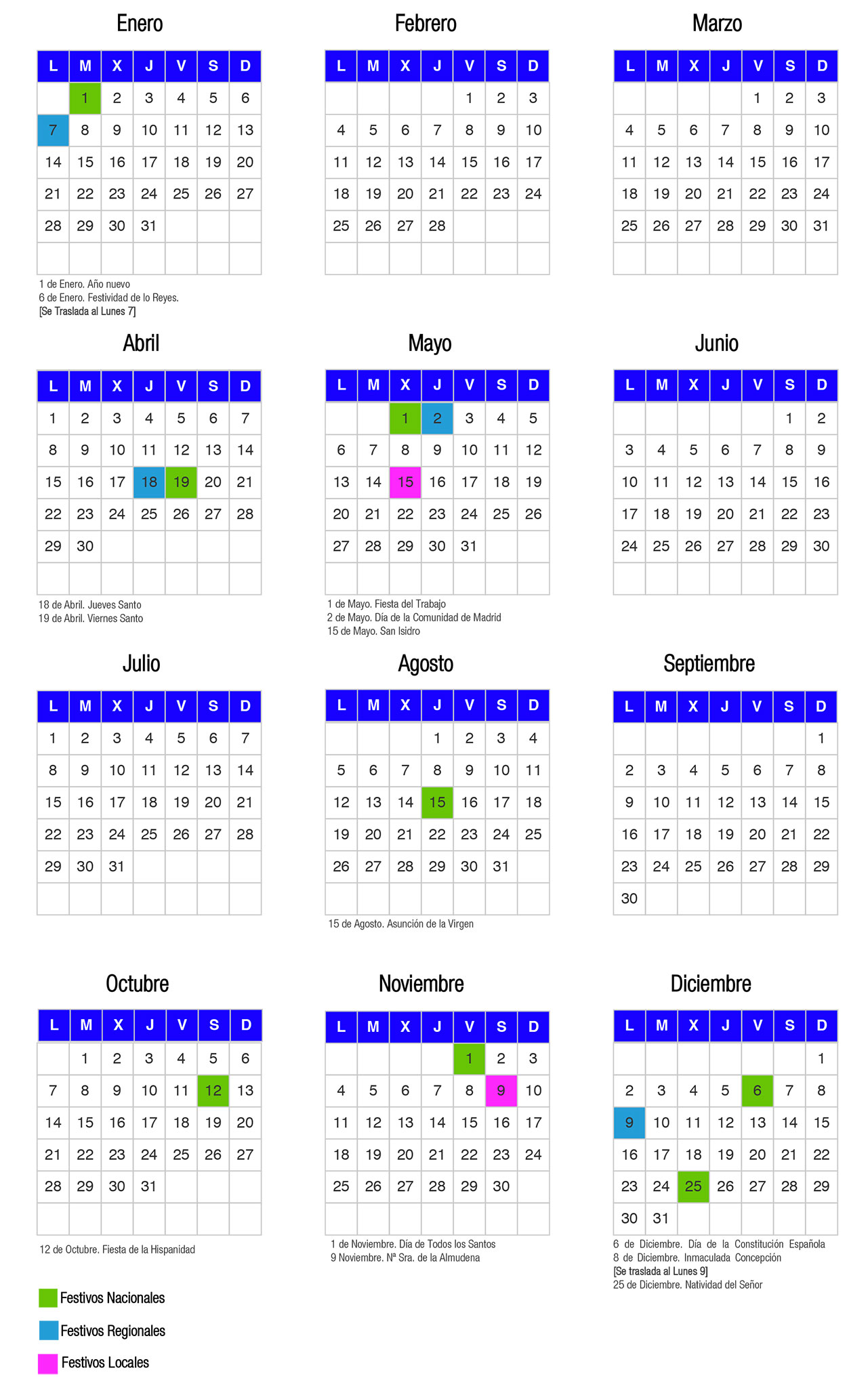 Calendario Laboral Comunidad De Madrid.Calendario Laboral 2019 Asesoria Ficobe
